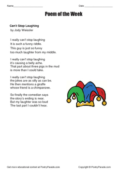 Poem of the Week Can't Stop Laughing by Jody Weissler  with Questions