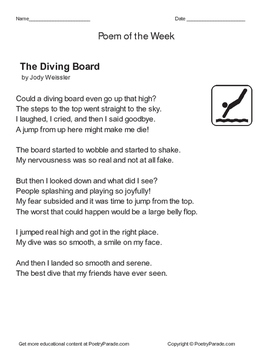 Poem of the Week    Diving Board by Jody Weissler  with Questions