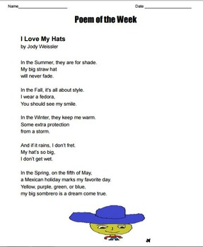 "Poem of the Week ""I love my Hats"" poetry by Jody Weissler with questions"