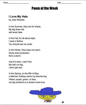 "Poem of the Week ""I love my Hats"" poetry by Jody Weissler"