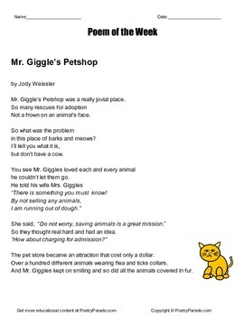 Poem of the Week  Mr. Giggle's Petshop by Jody Weissler