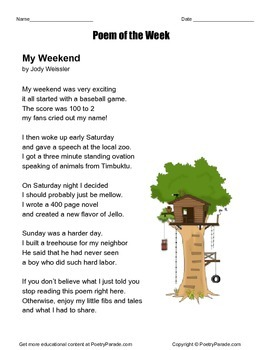 Poem of the Week My Weekend by Jody Weissler