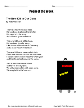"""Poem of the Week """"New Kid in Our Class"""" poetry by Jody Weissler with questions"""