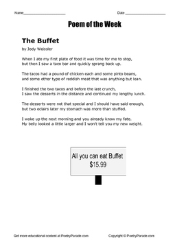 "Poem of the Week ""The Buffet"" poetry by Jody Weissler with questions"