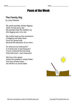 "Poem of the Week ""The Family Dig"" . Poetry by Jody Weissler with questions"