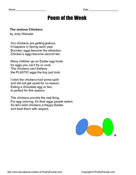 """Poem of the Week """"The Jealous Chickens""""  Easter Poem by Jo"""