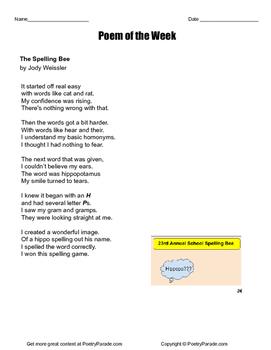 """Poem of the Week """"The Spelling Bee"""" by Jody Weissler  Poetry!"""