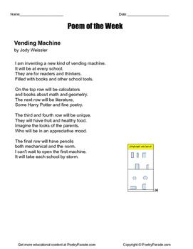"""Poem of the Week """"The Vending Machine""""  Great poetry by Jody Weissler"""