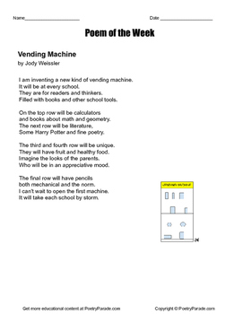 "Poem of the Week ""The Vending Machine""  Great poetry by Jody Weissler"