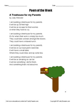 Poem of the Week  Treehouse for my Parents by Jody Weissler