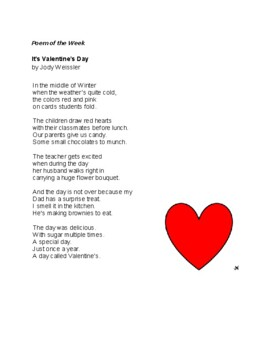 """Poem of the Week """"Valentine's Day""""  Great Poetry by Jody Weissler"""
