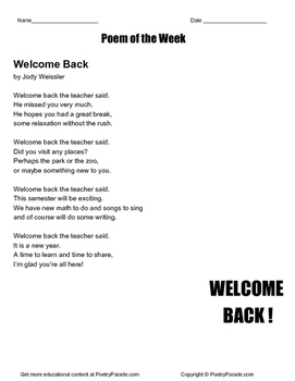 Poem of the Week  Welcome Back!  by Jody Weissler