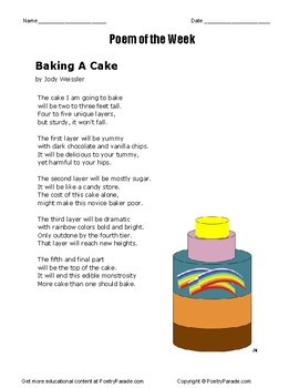Poem of the Week called Baking A Cake.   A poem by the poet Jody Weissler