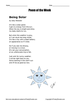Poem of the Week called Being Solar by Jody Weissler