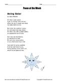 Poem of the Week called Being Solar by Jody Weissler