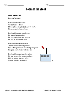 Ben Franklin Poem of the Week. NO PREP activity with Questions and Great Poetry