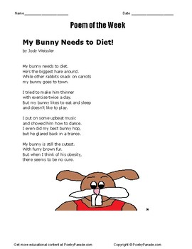 Poem of the Week called My Bunny Needs to Diet by Jody Weissler