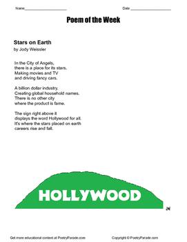 Poem of the Week called  Stars on Earth by Jody Weissler.  Great Poetry!