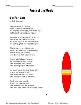 Poem of the Week called Surfer Lou.   A poem by the poet Jody Weissler