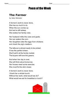 Poem of the Week called The Farmer by Jody Weissler   Great Poetry
