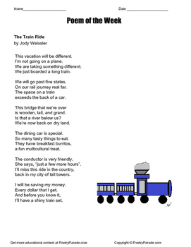 """Poem of the Week called """"The Train Ride"""" by Jody Weissler"""