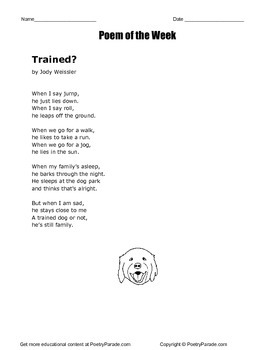 """Poem of the Week called """"Trained?""""  A Poem about a Dog.  Great poetry!"""