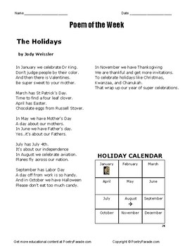 Poem of the Week called the Holidays