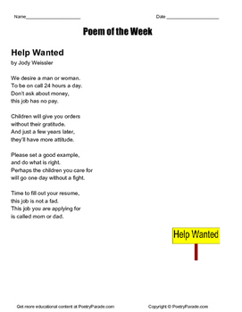Poem of the week called Help Wanted by Jody Weissler