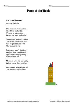 "Poem of the week called ""Narrow House"" great Poetry by Jody Weissler"