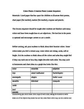 Poema de color: Creative Cloze Poem Lesson Sequence