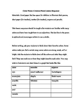 Poema de color: Creative Cloze Poem Lesson Sequence (PDF)