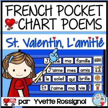 Poèmes pour La Saint Valentin et l'amitié | French Valentine Pocket Chart Poems