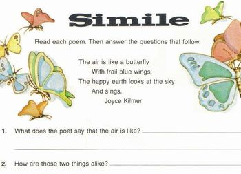 Poems Joyce Kilmer +Alfred Tennyson 6 questions: Find Similes, Compare, Describe