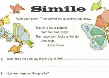 Poems Joyce Kilmer +Alfred Tennyson 6 questions: Find Similes, Compare, Describe
