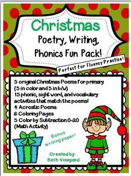 Poems for Christmas, Writing, and Coloring Math Fun Pack-Perfect for Primary