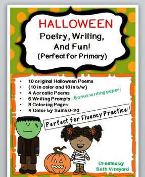 Poems for Halloween, Writing, and Coloring Math Fun Pack-P
