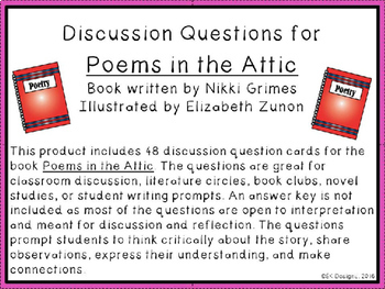 Poems in the Attic Discussion Question Cards
