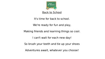 Poems of the Week - Grade One - Back to School Month