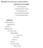 Poems on Common Themes - Worksheet