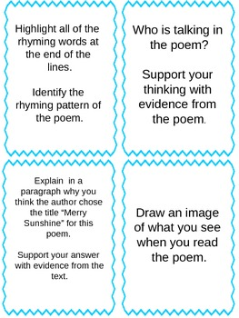 Poems with Task Cards