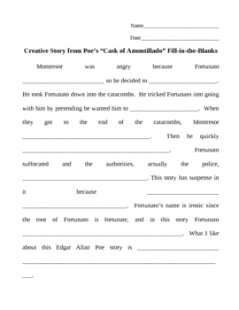 Poe's Cask of Amontillado Fill in the Blanks