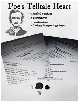Poe's Tell-Tale Heart. 3 adapted / leveled versions for al