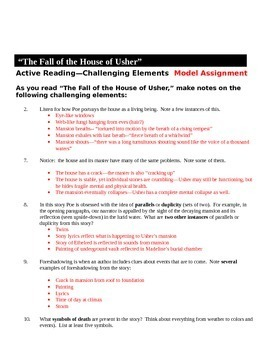 "Poe's ""The Fall of the House of Usher"" Activity Pack"