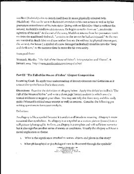 Poe's The Fall of the House of Usher Study Guide -PARCC  Literary Analysis Focus