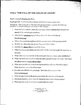 Poe's The Fall of the House of Usher Study Guide -PARCC  L