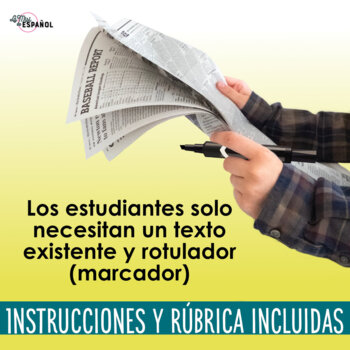 Spanish Blackout Poetry Powerpoint Handouts and Rubric | Poesía creativa