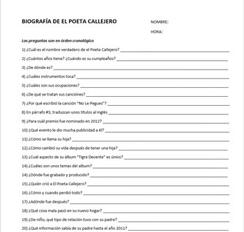 "Poeta Callejero -- ""Voy a Mí"" song lyrics, bio, questions, cloze, listening act."