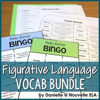 Figurative Language & Poetic Devices Bundle: Vocabulary List, BINGO, and Quiz