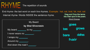 Poetic Devices Interactive Slides Presentation w/ Quiz