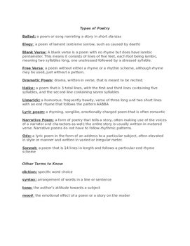 Poetic Devices Packet, Quiz, and Answer Key